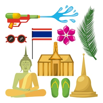 Songkran thailand festival celebration icons