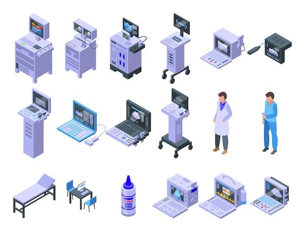 Набор иконок сонографа изометрической вектор. клинический анализ. диагностика компьютерного устройства