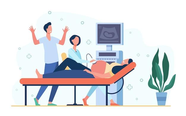 초음파 스캐너를 사용하여 임신 한 여자, 스캔 복부를 검사하는 sonographer 의사. 케어 임신, 산부인과, 건강 진단 개념에 대한 벡터 일러스트 레이 션