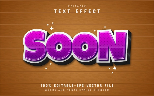 Soon text effect with purple gradient