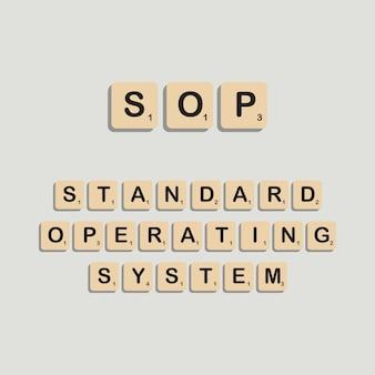 Sop  standard operating system typographic lettering in scrabbles block alphabet concept
