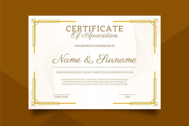 Sophisticated certificate template