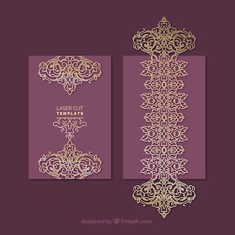 Sophisticated golden and purple ornamental card