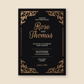 Sophisticated wedding invitation template