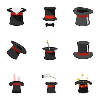 Sorcerer icons set, flat style