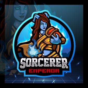 Sorcerer mascot esport logo design