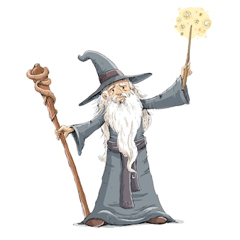 Sorcerer with wand doing magic illustration