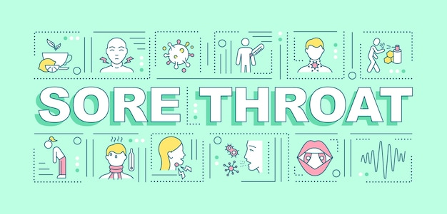 Sore throat word concepts banner. different illness treatment process.