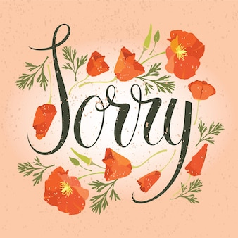 Sorry card with red flowers