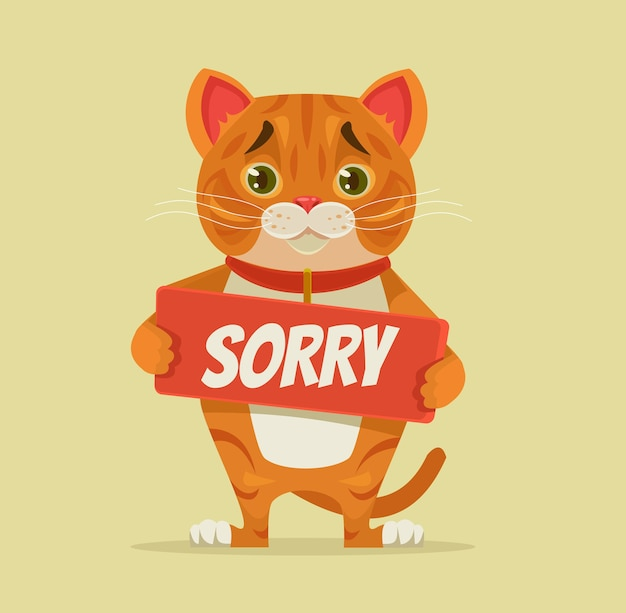 Sorry cat character hold apology plate  illustration