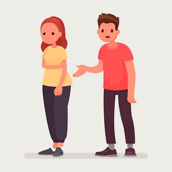 Sorry. the man apologizes to the offended woman. relationships. in a flat style