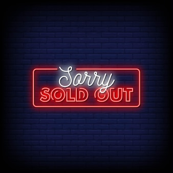 Sorry sold out neon signs style text vector