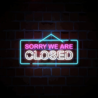 Sorry we are closed neon sign illustration