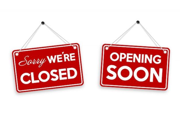 Извините, мы закрыты и скоро открытие дверь знак изолирован на белом фоне.