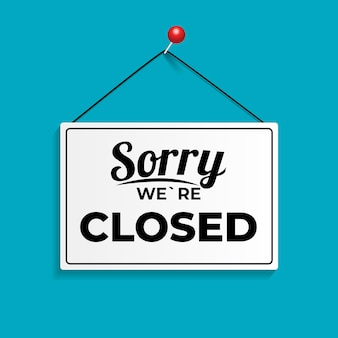 Sorry we`re closed icon sign