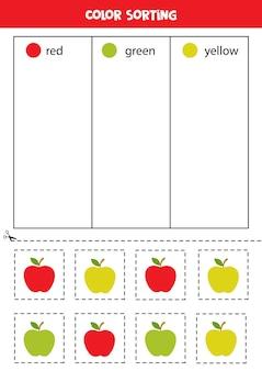 색상별로 사과를 정렬합니다. 어린이를 위한 색상 학습.