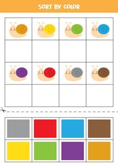 색상별로 정렬합니다. 귀여운 다채로운 달팽이. 아이들을위한 기본 색상 배우기.