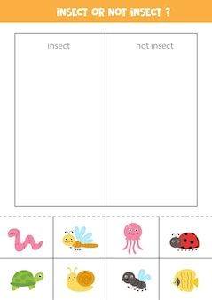 Sort cards into categories. insects or not insects. logical game for children.