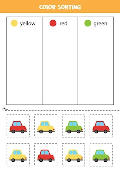 Sort cars by colors. learning colors for children.