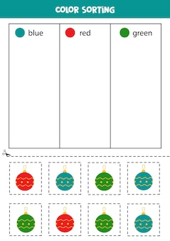 Sort christmas baubles by colors. learning colors for children.