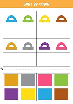 Sort pictures by color. cartoon rulers. game for kids. cut and glue.