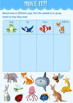 유치원 용 워크 시트를 이동하는 방법에 따라 동물을 그룹으로 분류합니다.