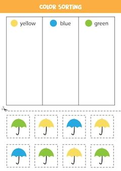 Sort umbrellas by colors. learning colors for children.