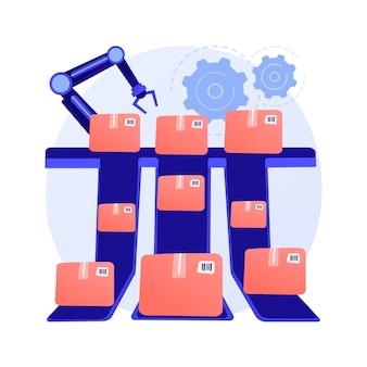 Sistemi di smistamento concetto astratto illustrazione vettoriale. smistamento del prodotto, sistema basato su nastro trasportatore, processo di smistamento automatizzato, identificazione del prodotto, metafora astratta di elaborazione degli ordini logistici.
