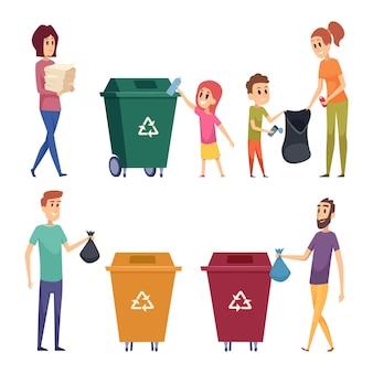 Сортировка мусора. люди перерабатывают и убирают мусор естественный защищают природу металлическую бумагу разделение стекла мультфильмы люди.