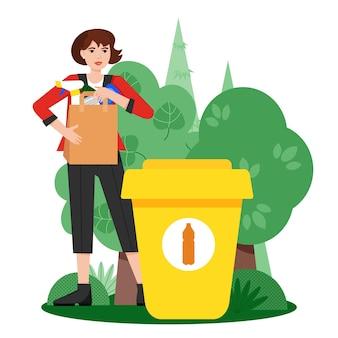 쓰레기 분류 흰색 배경에 쓰레기통 근처에 분류된 플라스틱 쓰레기를 가진 여자 생태학