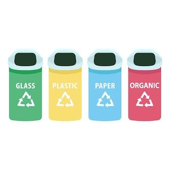 Сортировка мусорных баков мультфильм. городские мусорные баки для стекла, бумаги, пластика и органических плоских цветных предметов. сортировка отходов, разделительные контейнеры, изолированные на белом фоне