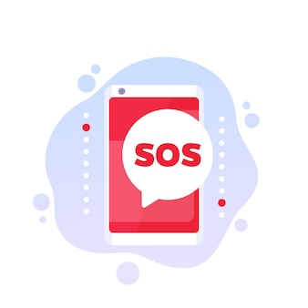 Sos message icon with a phone