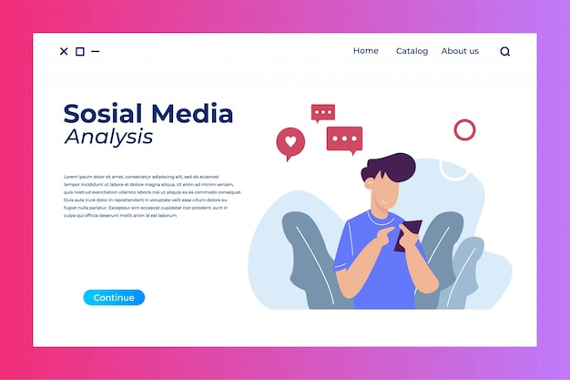 Sosial media analysis landing page design with flat illustration