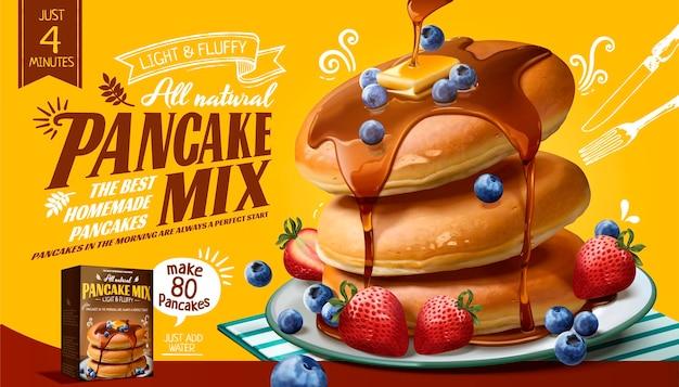 3d 스타일, 노란색 표면의 신선한 과일과 꿀 소스와 함께 수플레 팬케이크 믹스 배너