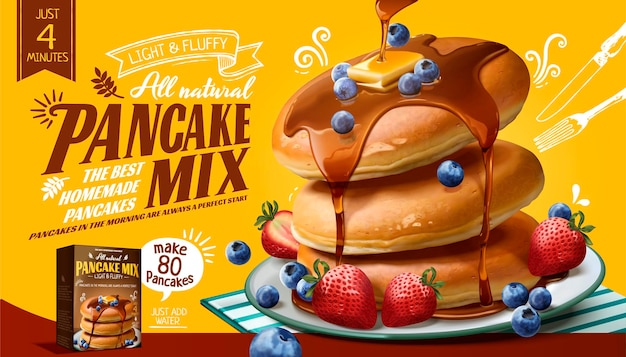 Souffle pancake mix banner with fresh fruits and honey sauce in 3d style, yellow surface