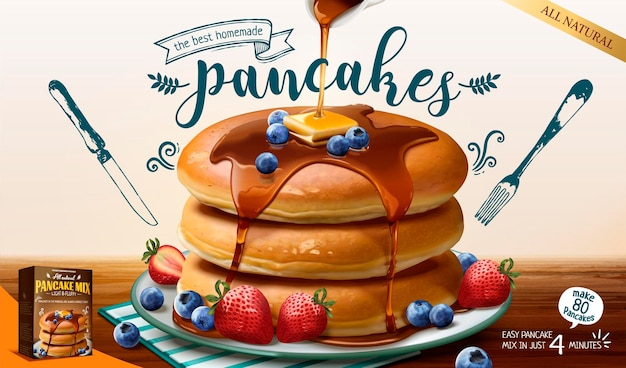 Souffle pancake mix banner with fresh fruits and honey sauce in 3d style