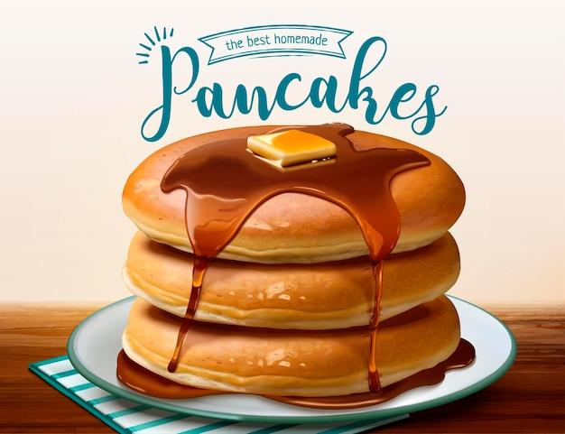 3dスタイルで滴る蜂蜜とパンケーキをスフレ