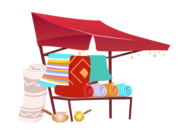 Сук торговая палатка с мультяшными коврами ручной работы. восточная рыночная тент, навес с сувенирами, коврики плоский цветной объект. шатер азиатской ярмарки, изолированные на белом фоне