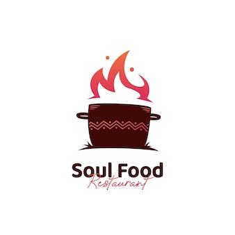 냄비 로고 아이콘과 아프리카 민족 패턴이 있는 소울 푸드 주방 로고