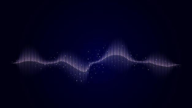 어두운 배경에 파란색으로 사운드 추상 파