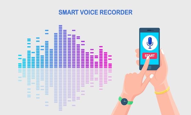 イコライザーからのサウンドオーディオグラデーション波。画面上のマイクアイコン付きの携帯電話。デジタル音声ラジオ録音用の携帯電話アプリ。カラースペクトルの音楽周波数。ベクトルフラットデザイン