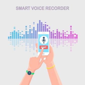Звуковая волна градиента звука от эквалайзера. мобильный телефон со значком микрофона на экране.