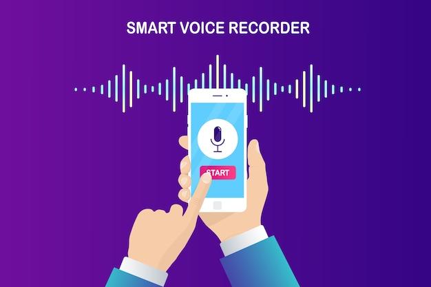 Звуковая волна градиента звука от эквалайзера. мобильный телефон со значком микрофона. телефонное приложение для записи голоса