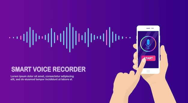 Sound audio gradient wave from equalizer. cellphone with microphone icon. phone app for voice record