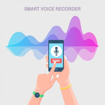 Sound audio gradient wave from equalizer. cellphone with microphone icon on screen. mobile phone app for digital voice radio record. music frequency in color spectrum.