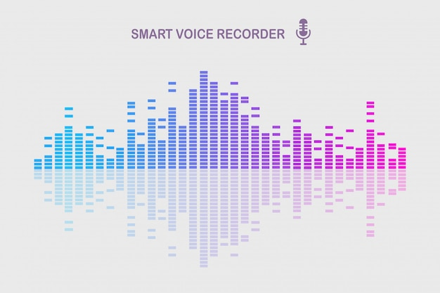 Sound audio wave from equalizer. music frequency in color spectrum.