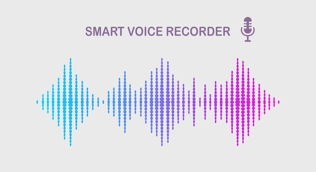 イコライザーからの音波。カラースペクトルの音楽周波数。ベクトルフラットデザイン