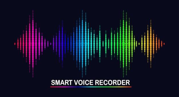 イコライザーからの音波。カラースペクトルの音楽周波数。