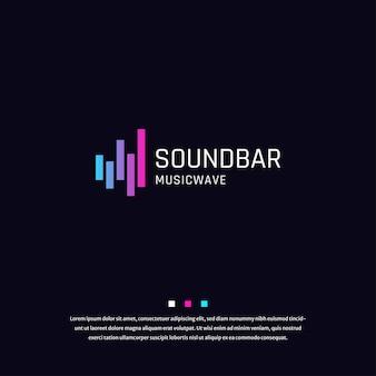 サウンドバーオーディオ波カラフルなグラデーションロゴアイコンデザインテンプレートベクトル