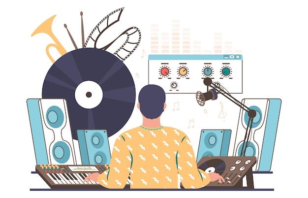 사운드 디자이너, 엔지니어 생성, 믹싱, 녹음 음악, 평면 벡터 일러스트레이션. 사운드 프로덕션 장비.